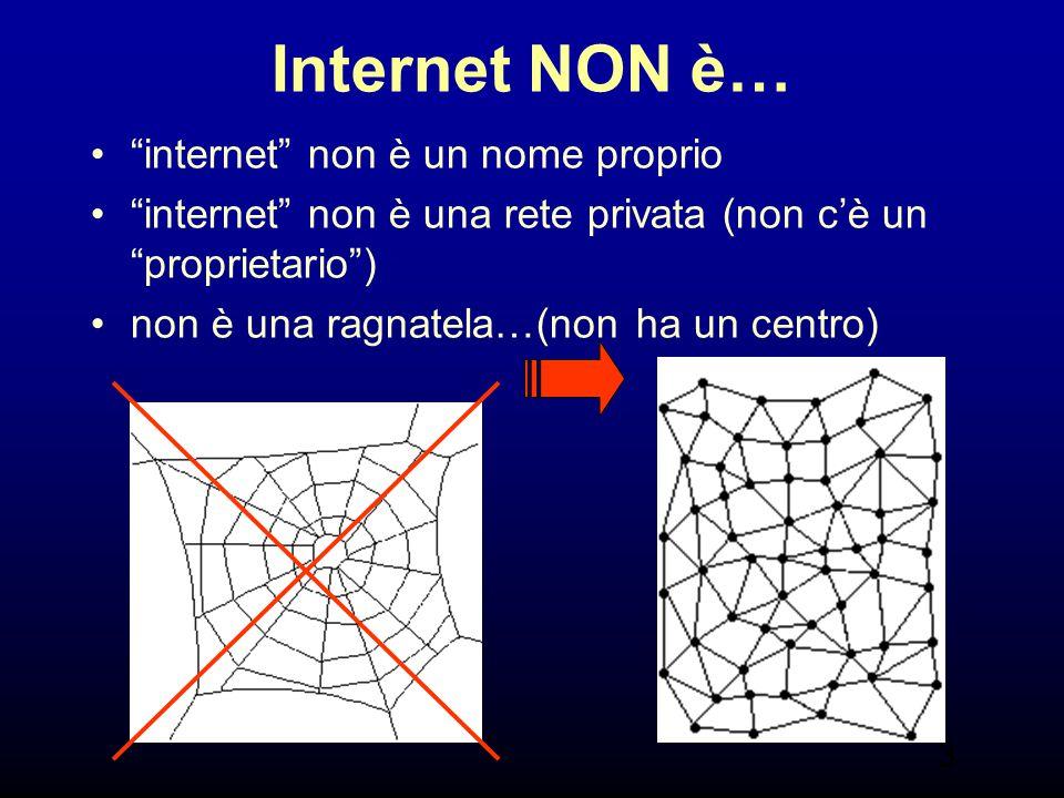 """3 Internet NON è… """"internet"""" non è un nome proprio """"internet"""" non è una rete privata (non c'è un """"proprietario"""") non è una ragnatela…(non ha un centro"""