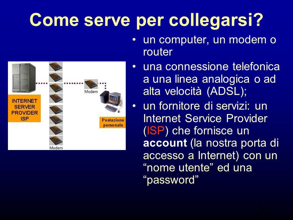 5 Come serve per collegarsi? un computer, un modem o router una connessione telefonica a una linea analogica o ad alta velocità (ADSL); un fornitore d