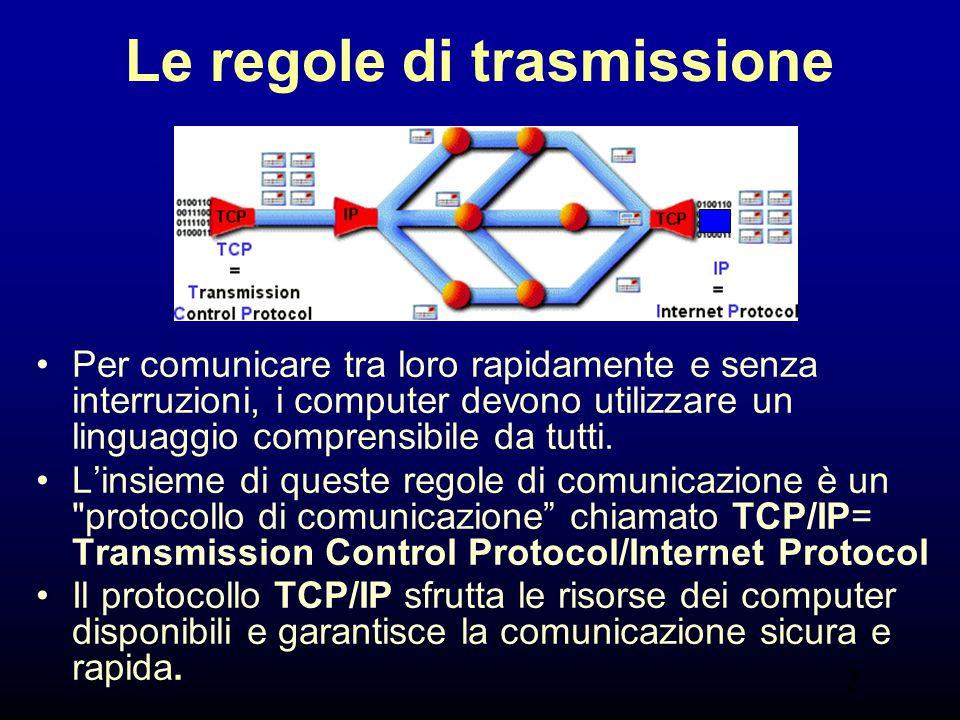 7 Le regole di trasmissione Per comunicare tra loro rapidamente e senza interruzioni, i computer devono utilizzare un linguaggio comprensibile da tutt