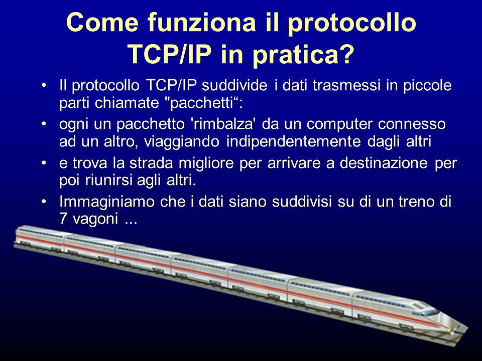 8 Come funziona il protocollo TCP/IP in pratica? Il protocollo TCP/IP suddivide i dati trasmessi in piccole parti chiamate