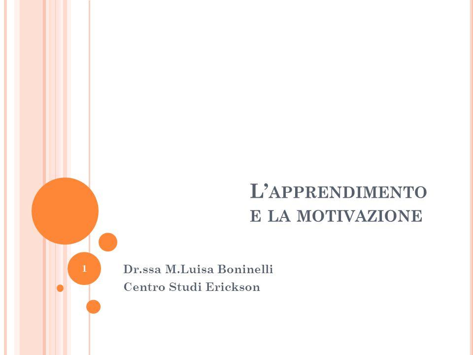L' APPRENDIMENTO E LA MOTIVAZIONE Dr.ssa M.Luisa Boninelli Centro Studi Erickson 1