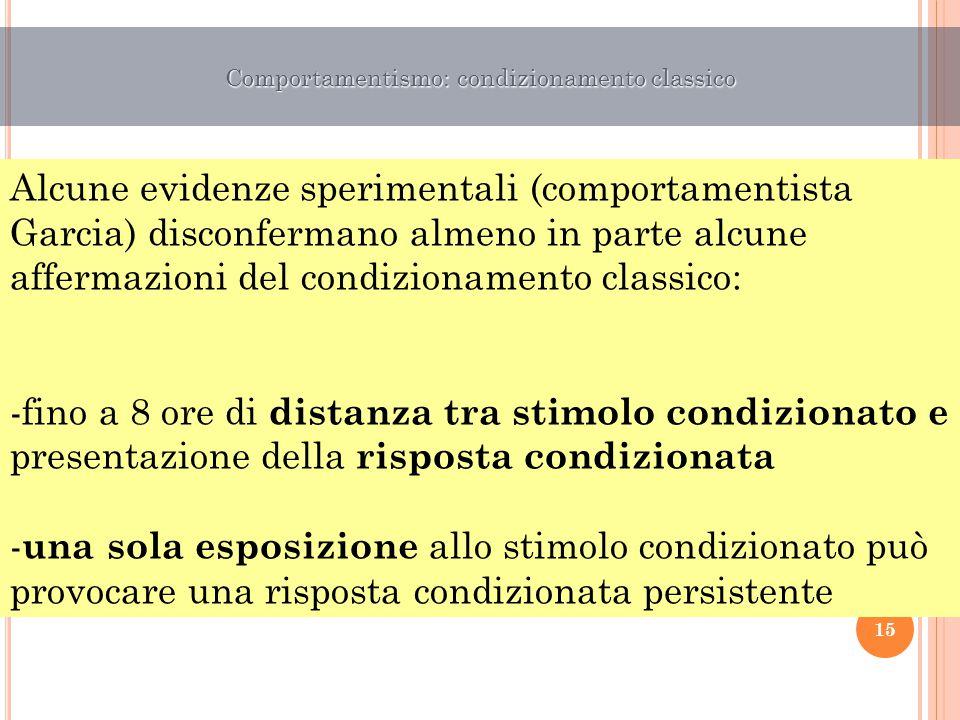 Alcune evidenze sperimentali (comportamentista Garcia) disconfermano almeno in parte alcune affermazioni del condizionamento classico: -fino a 8 ore d