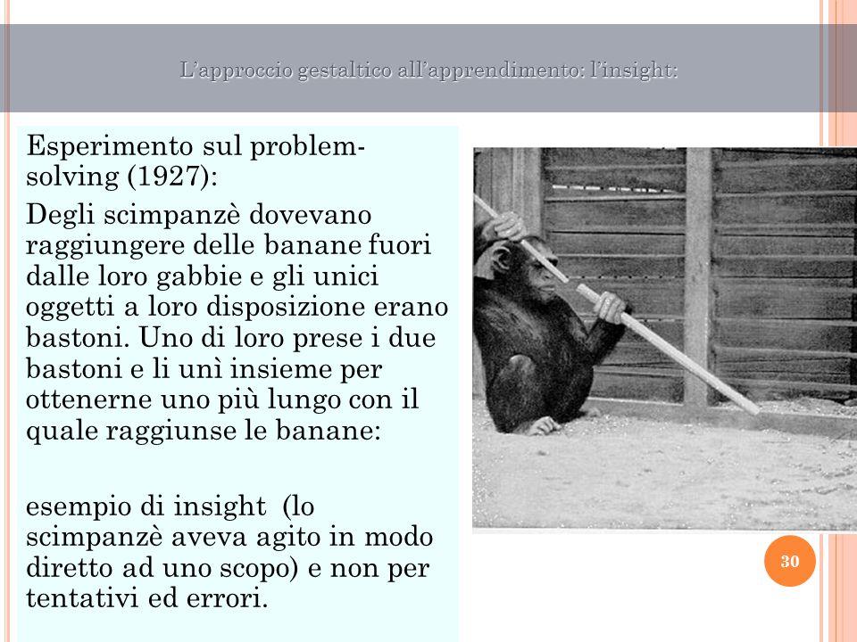 Esperimento sul problem- solving (1927): Degli scimpanzè dovevano raggiungere delle banane fuori dalle loro gabbie e gli unici oggetti a loro disposiz