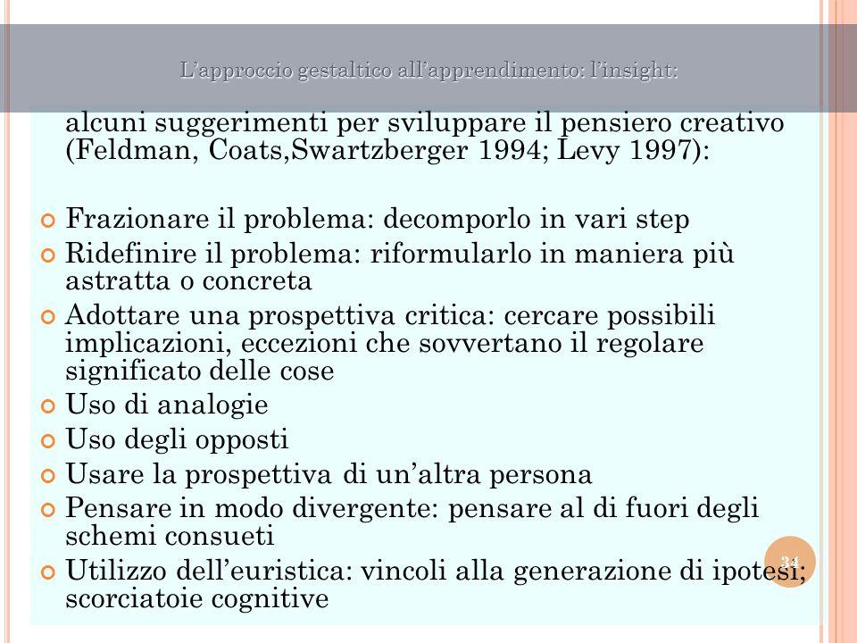 alcuni suggerimenti per sviluppare il pensiero creativo (Feldman, Coats,Swartzberger 1994; Levy 1997): Frazionare il problema: decomporlo in vari step