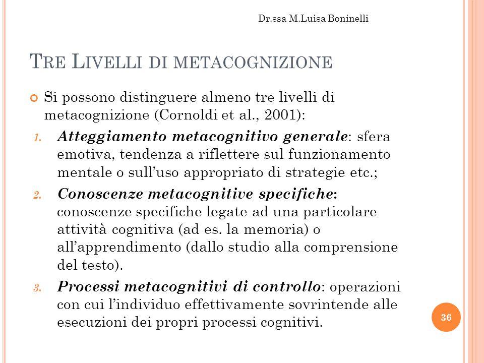 T RE L IVELLI DI METACOGNIZIONE Si possono distinguere almeno tre livelli di metacognizione (Cornoldi et al., 2001): 1. Atteggiamento metacognitivo ge
