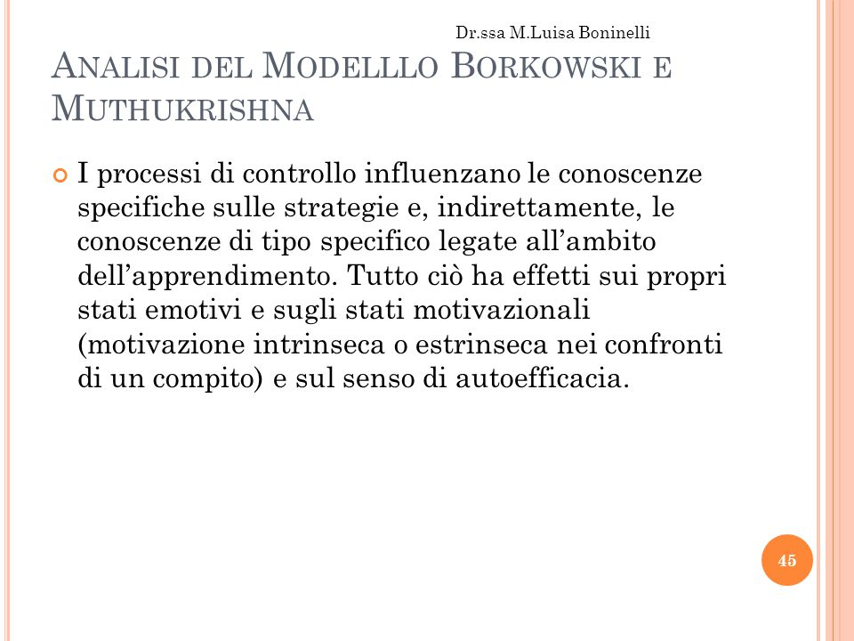 A NALISI DEL M ODELLLO B ORKOWSKI E M UTHUKRISHNA I processi di controllo influenzano le conoscenze specifiche sulle strategie e, indirettamente, le conoscenze di tipo specifico legate all'ambito dell'apprendimento.