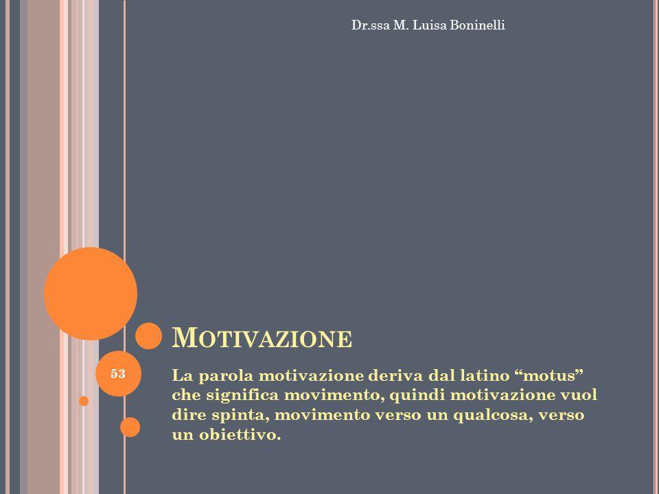 """M OTIVAZIONE La parola motivazione deriva dal latino """"motus"""" che significa movimento, quindi motivazione vuol dire spinta, movimento verso un qualcosa"""