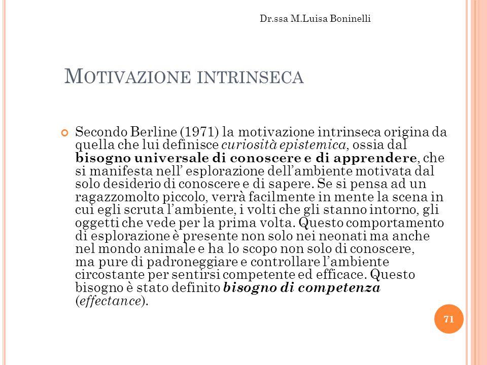 M OTIVAZIONE INTRINSECA Secondo Berline (1971) la motivazione intrinseca origina da quella che lui definisce curiosità epistemica, ossia dal bisogno u