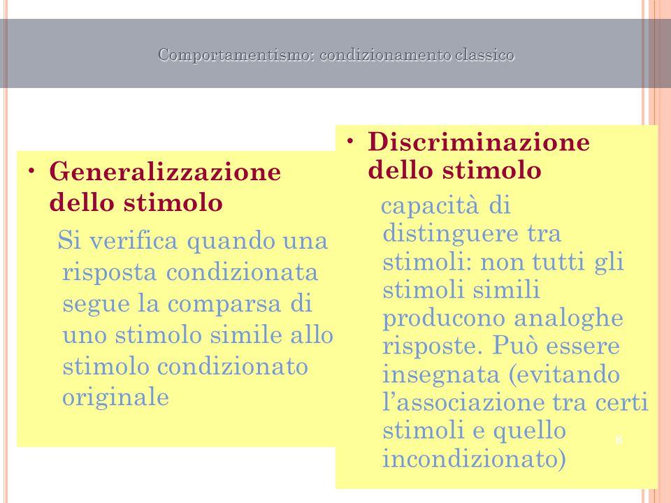 Generalizzazione dello stimolo Si verifica quando una risposta condizionata segue la comparsa di uno stimolo simile allo stimolo condizionato original