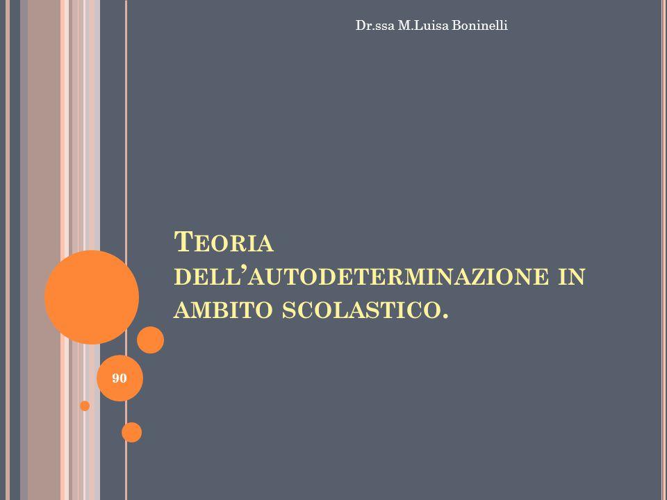 T EORIA DELL ' AUTODETERMINAZIONE IN AMBITO SCOLASTICO. Dr.ssa M.Luisa Boninelli 90