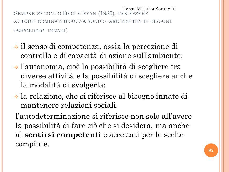 S EMPRE SECONDO D ECI E R YAN (1985), PER ESSERE AUTODETERMINATI BISOGNA SODDISFARE TRE TIPI DI BISOGNI PSICOLOGICI INNATI :  il senso di competenza,