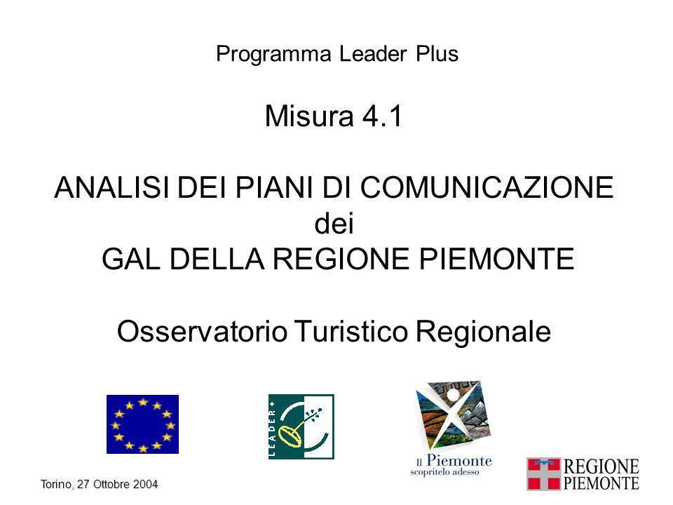 Torino, 27 Ottobre 2004 1 Misura 4.1 ANALISI DEI PIANI DI COMUNICAZIONE dei GAL DELLA REGIONE PIEMONTE Osservatorio Turistico Regionale Programma Lead
