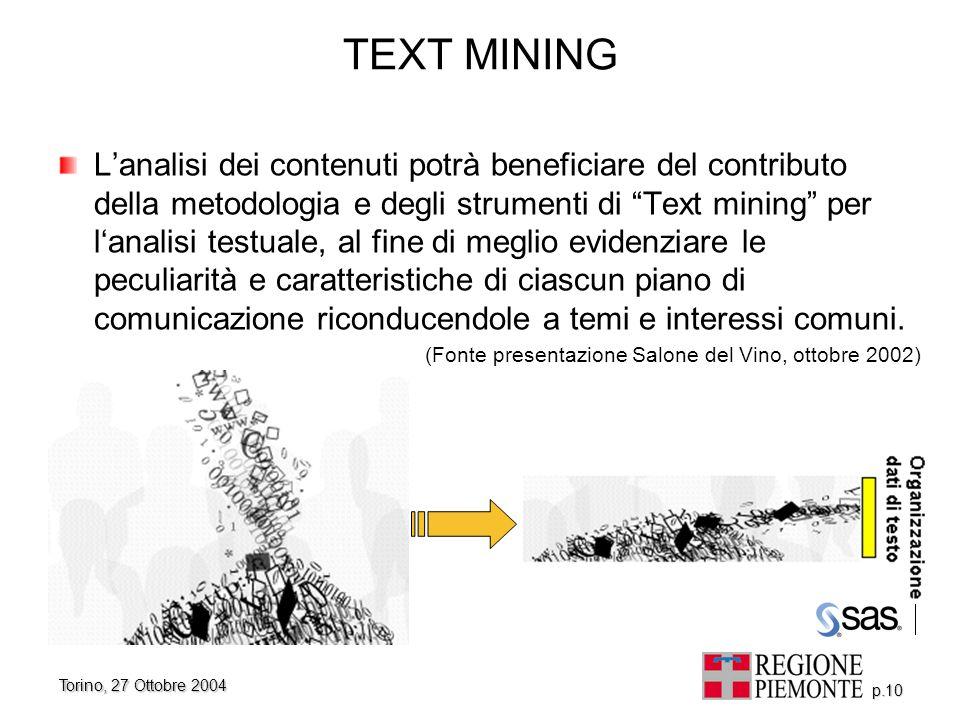 """Torino, 27 Ottobre 2004 p.10 TEXT MINING L'analisi dei contenuti potrà beneficiare del contributo della metodologia e degli strumenti di """"Text mining"""""""