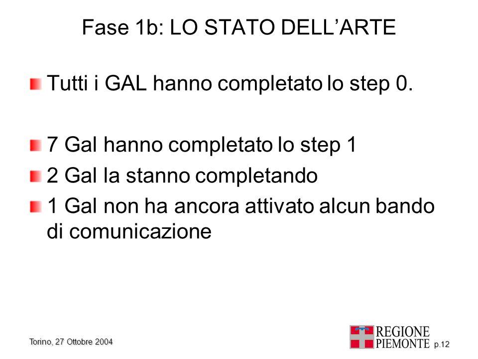 Torino, 27 Ottobre 2004 p.12 Fase 1b: LO STATO DELL'ARTE Tutti i GAL hanno completato lo step 0. 7 Gal hanno completato lo step 1 2 Gal la stanno comp