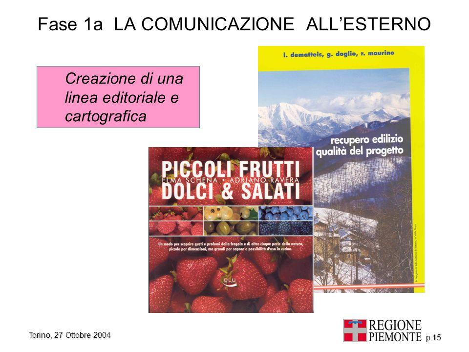 Torino, 27 Ottobre 2004 p.15 Fase 1a LA COMUNICAZIONE ALL'ESTERNO Creazione di una linea editoriale e cartografica