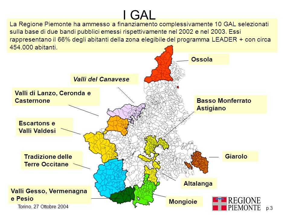 Torino, 27 Ottobre 2004 p.3 La Regione Piemonte ha ammesso a finanziamento complessivamente 10 GAL selezionati sulla base di due bandi pubblici emessi