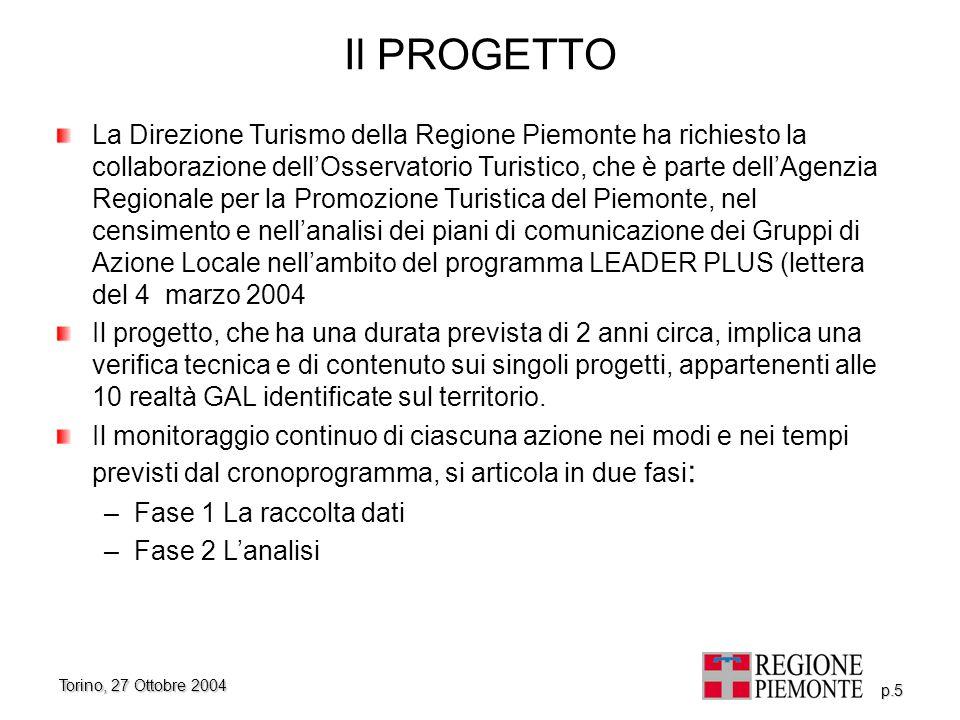 Torino, 27 Ottobre 2004 p.5 Il PROGETTO La Direzione Turismo della Regione Piemonte ha richiesto la collaborazione dell'Osservatorio Turistico, che è