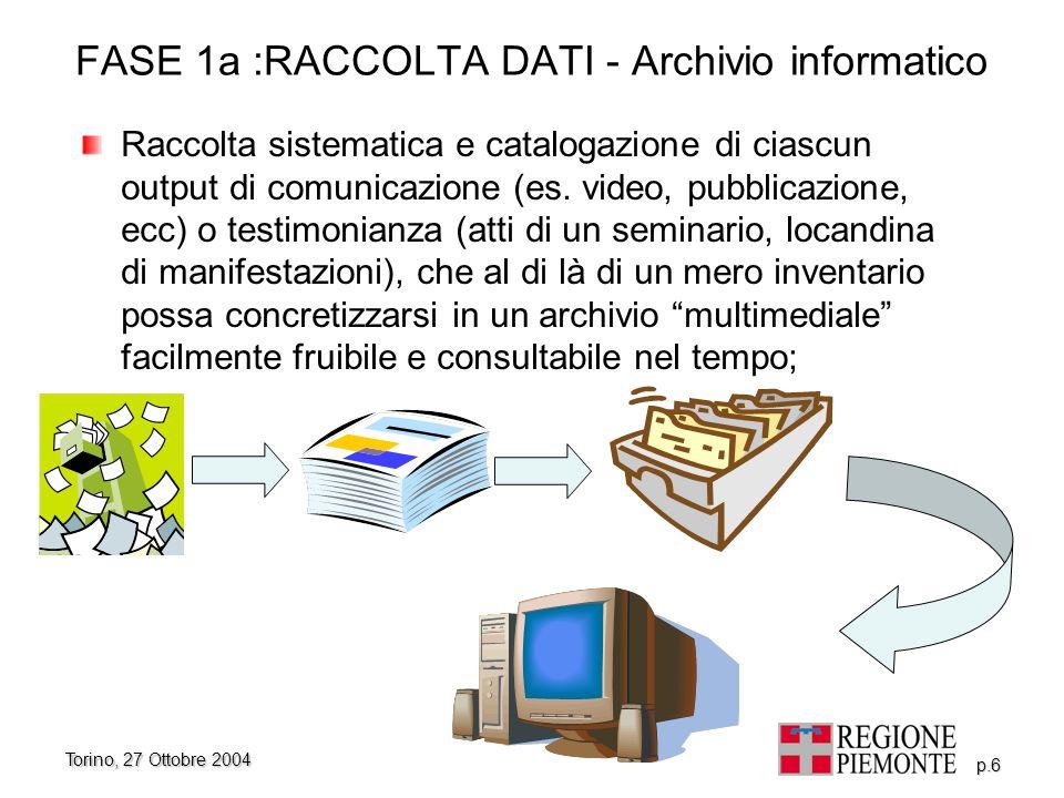 Torino, 27 Ottobre 2004 p.7 FASE 1b: LA RACCOLTA DATI - Verifica Verifica delle azioni previste da ciascun piano di comunicazione rispetto alle scadenze stesse e aggiornamento continuo del cronoprogramma e dello stato dell'arte di ciascun piano;
