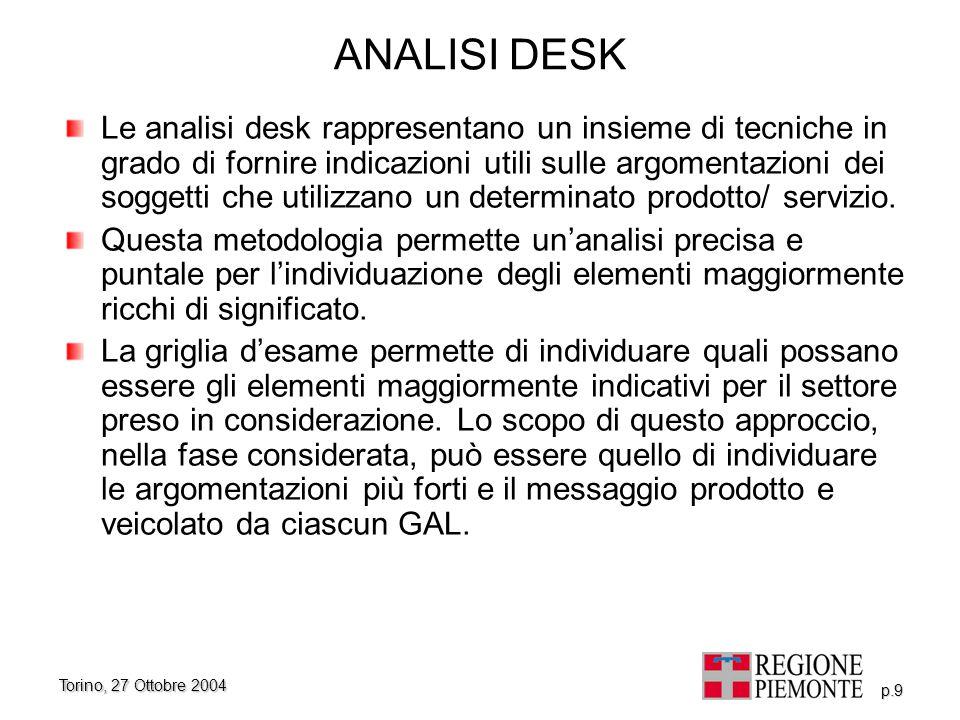 Torino, 27 Ottobre 2004 p.9 ANALISI DESK Le analisi desk rappresentano un insieme di tecniche in grado di fornire indicazioni utili sulle argomentazio