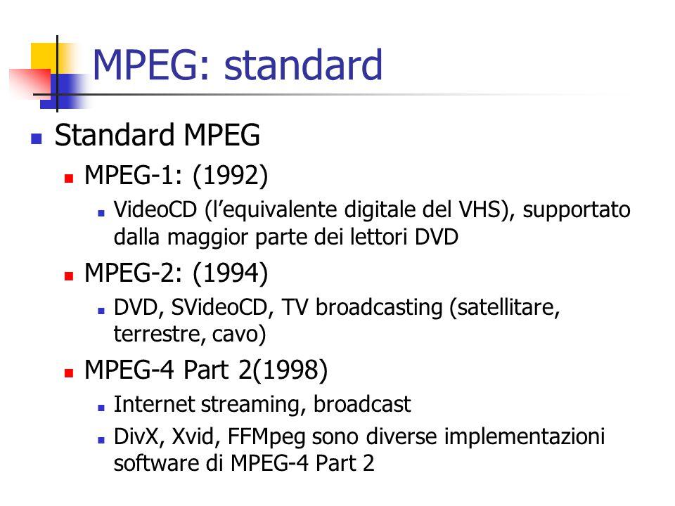 MPEG: standard Standard MPEG MPEG-1: (1992) VideoCD (l'equivalente digitale del VHS), supportato dalla maggior parte dei lettori DVD MPEG-2: (1994) DV