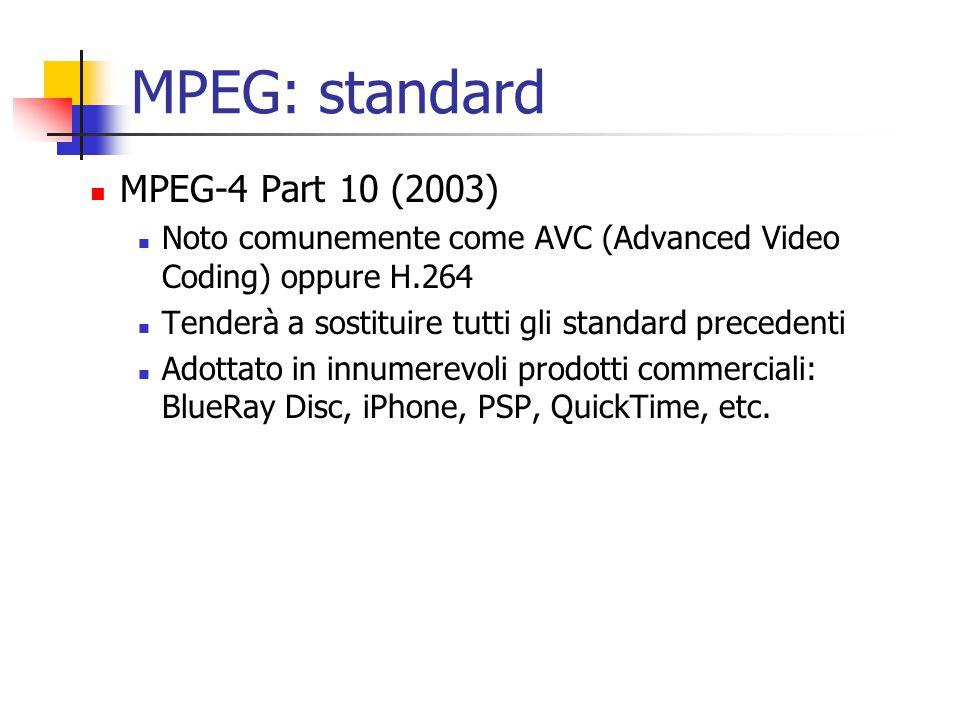 MPEG: standard MPEG-4 Part 10 (2003) Noto comunemente come AVC (Advanced Video Coding) oppure H.264 Tenderà a sostituire tutti gli standard precedenti Adottato in innumerevoli prodotti commerciali: BlueRay Disc, iPhone, PSP, QuickTime, etc.