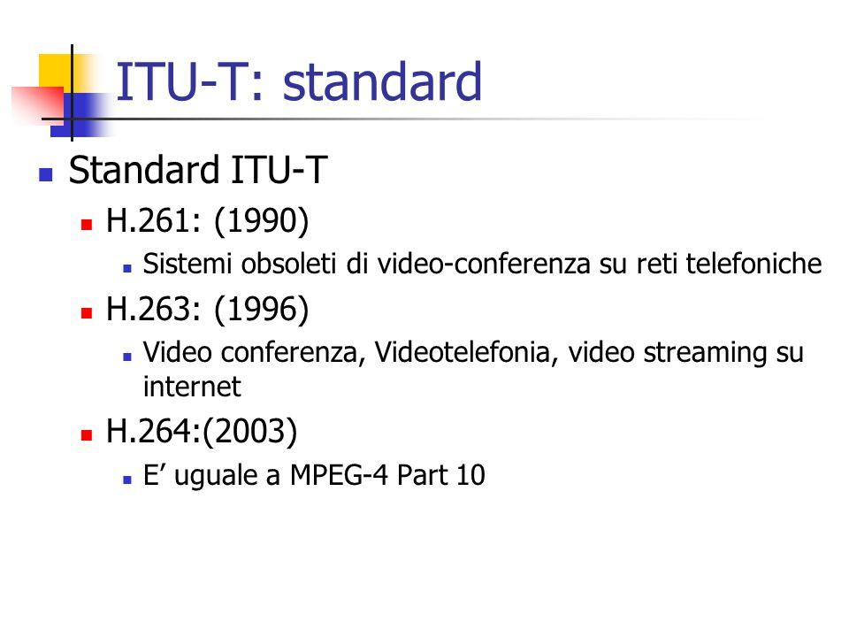 ITU-T: standard Standard ITU-T H.261: (1990) Sistemi obsoleti di video-conferenza su reti telefoniche H.263: (1996) Video conferenza, Videotelefonia, video streaming su internet H.264:(2003) E' uguale a MPEG-4 Part 10