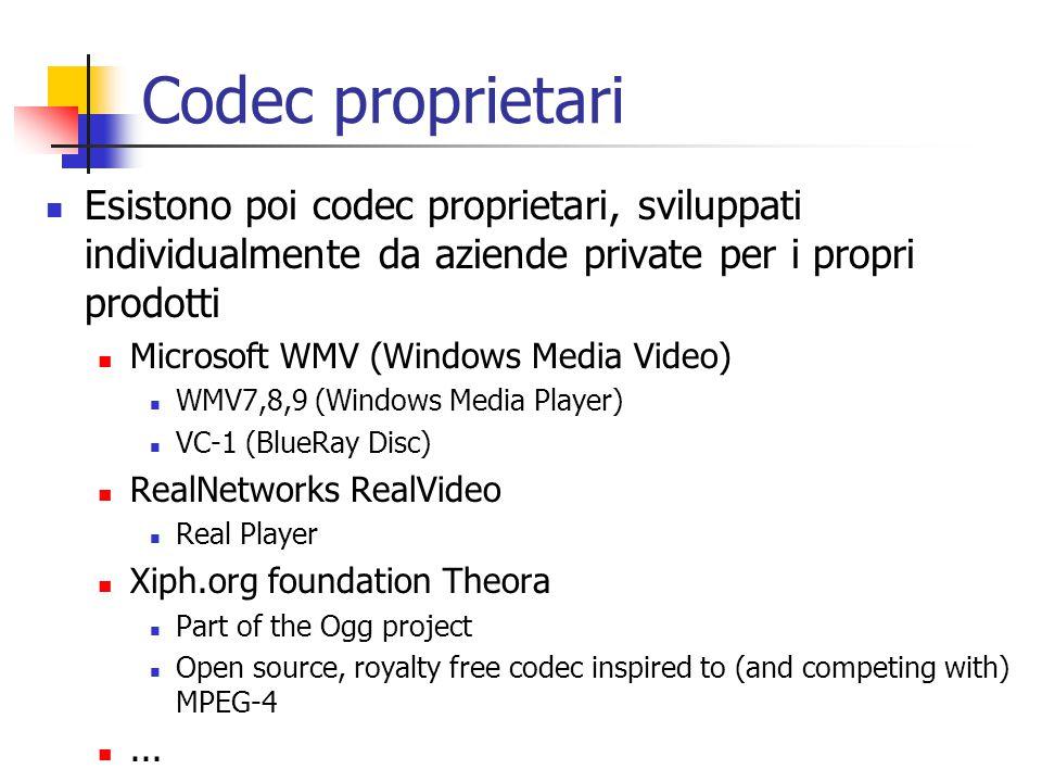 Codec proprietari Esistono poi codec proprietari, sviluppati individualmente da aziende private per i propri prodotti Microsoft WMV (Windows Media Vid