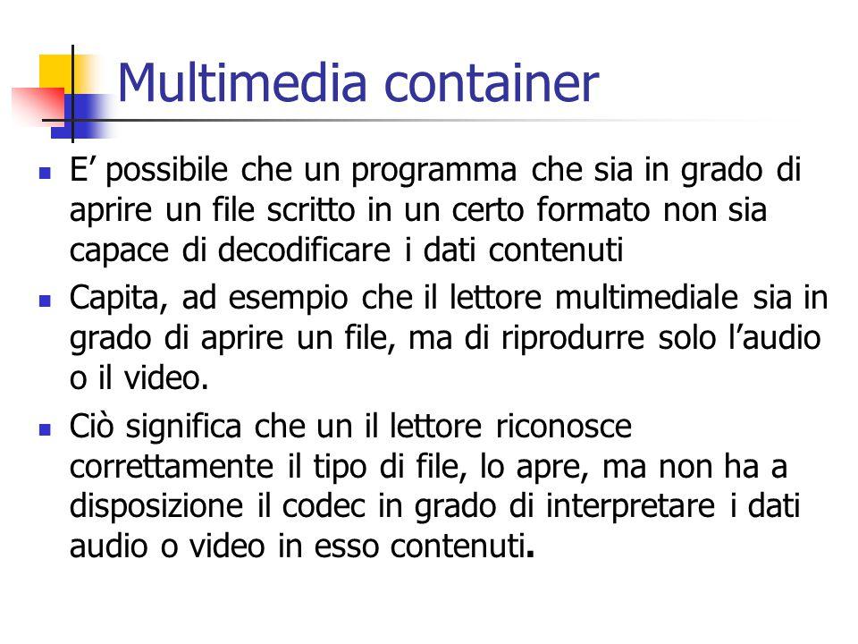 Multimedia container E' possibile che un programma che sia in grado di aprire un file scritto in un certo formato non sia capace di decodificare i dati contenuti Capita, ad esempio che il lettore multimediale sia in grado di aprire un file, ma di riprodurre solo l'audio o il video.