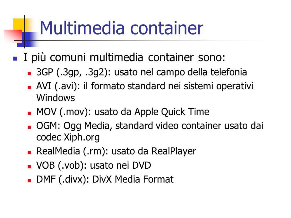 Multimedia container I più comuni multimedia container sono: 3GP (.3gp,.3g2): usato nel campo della telefonia AVI (.avi): il formato standard nei sistemi operativi Windows MOV (.mov): usato da Apple Quick Time OGM: Ogg Media, standard video container usato dai codec Xiph.org RealMedia (.rm): usato da RealPlayer VOB (.vob): usato nei DVD DMF (.divx): DivX Media Format