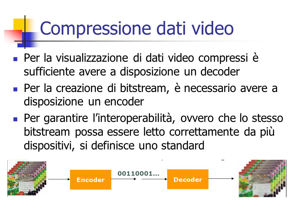 Compressione dati video Per la visualizzazione di dati video compressi è sufficiente avere a disposizione un decoder Per la creazione di bitstream, è necessario avere a disposizione un encoder Per garantire l'interoperabilità, ovvero che lo stesso bitstream possa essere letto correttamente da più dispositivi, si definisce uno standard