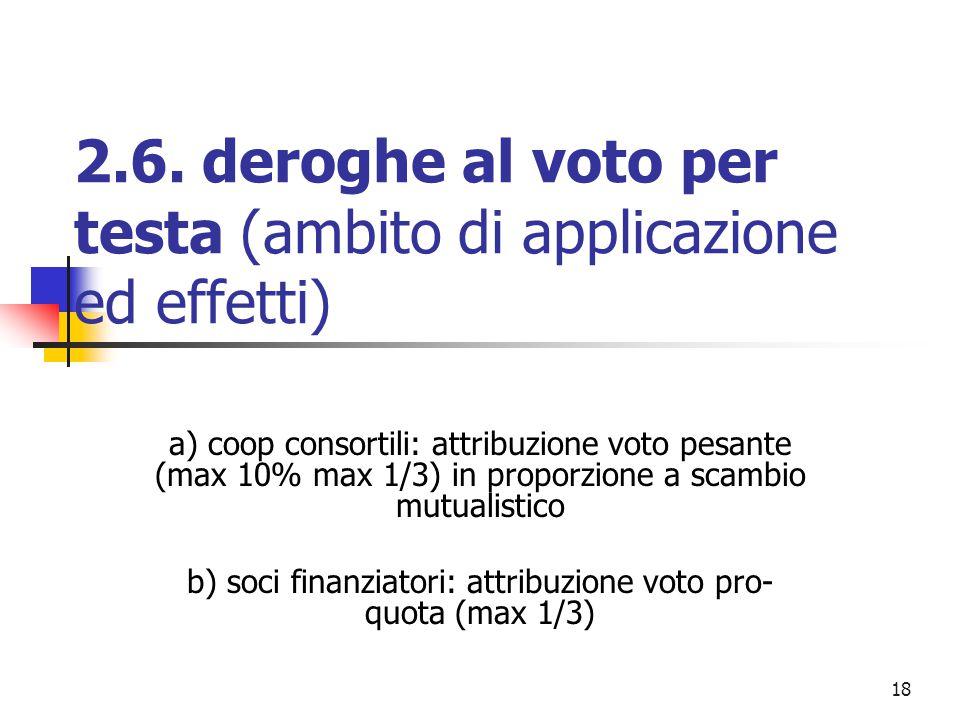 18 2.6. deroghe al voto per testa (ambito di applicazione ed effetti) a) coop consortili: attribuzione voto pesante (max 10% max 1/3) in proporzione a