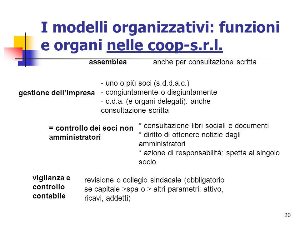 20 I modelli organizzativi: funzioni e organi nelle coop-s.r.l. assembleaanche per consultazione scritta gestione dell'impresa - uno o più soci (s.d.d