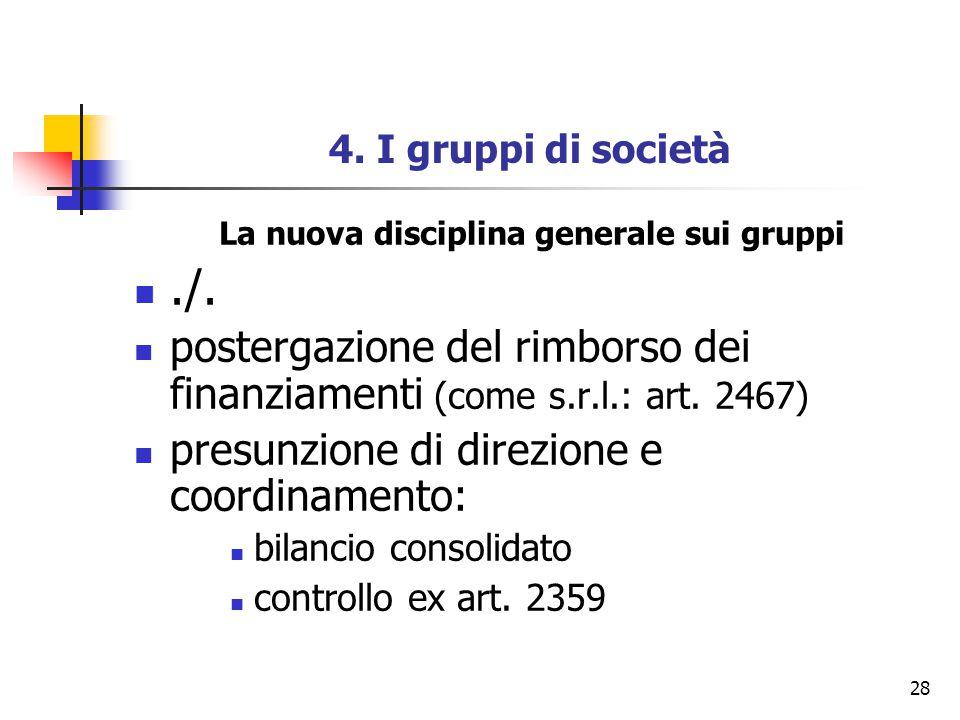28 4. I gruppi di società La nuova disciplina generale sui gruppi./. postergazione del rimborso dei finanziamenti (come s.r.l.: art. 2467) presunzione