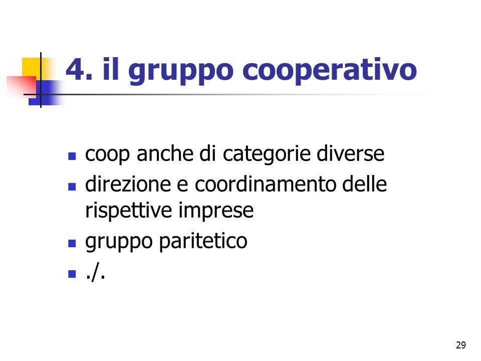 29 4. il gruppo cooperativo coop anche di categorie diverse direzione e coordinamento delle rispettive imprese gruppo paritetico./.