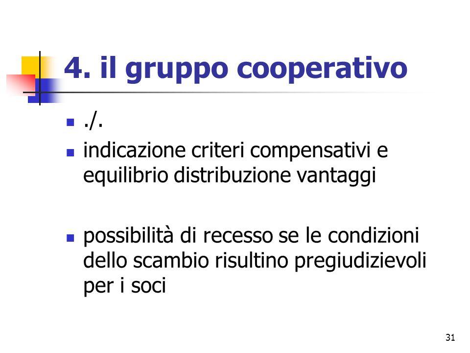 31 4. il gruppo cooperativo./. indicazione criteri compensativi e equilibrio distribuzione vantaggi possibilità di recesso se le condizioni dello scam
