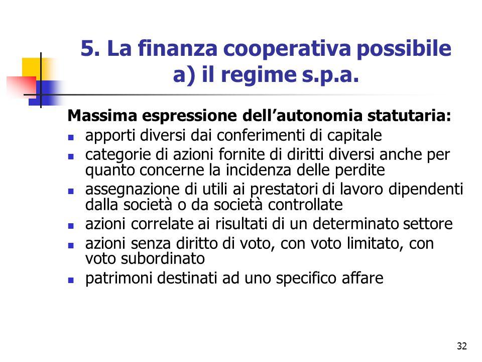32 5. La finanza cooperativa possibile a) il regime s.p.a. Massima espressione dell'autonomia statutaria: apporti diversi dai conferimenti di capitale