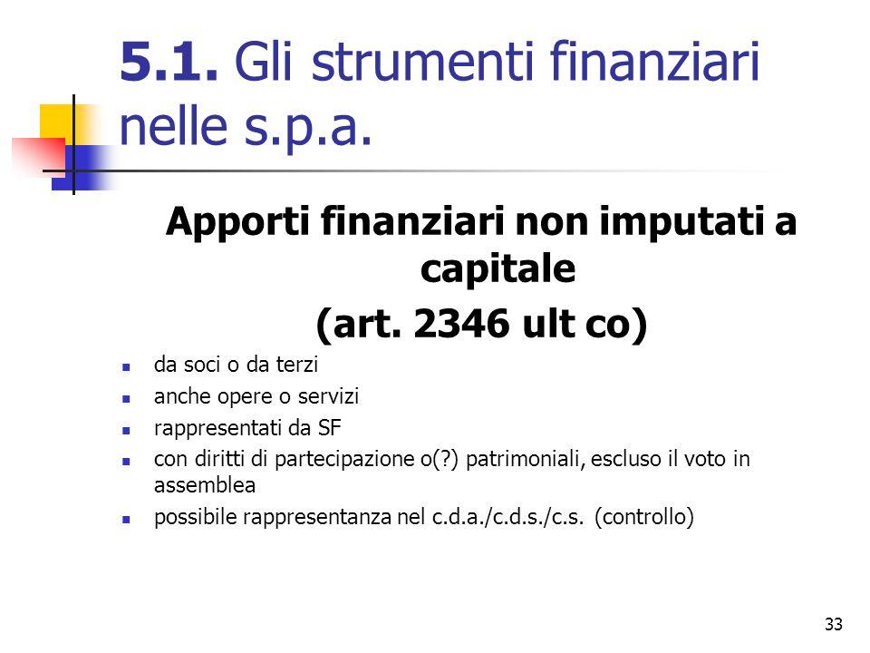 33 5.1. Gli strumenti finanziari nelle s.p.a. Apporti finanziari non imputati a capitale (art. 2346 ult co) da soci o da terzi anche opere o servizi r