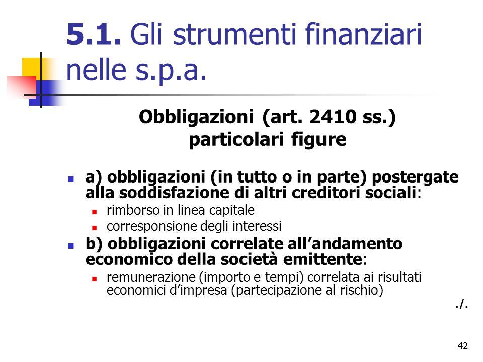 42 5.1. Gli strumenti finanziari nelle s.p.a. Obbligazioni (art. 2410 ss.) particolari figure a) obbligazioni (in tutto o in parte) postergate alla so