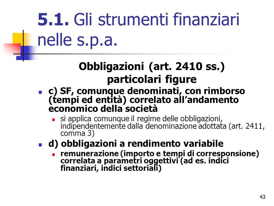43 5.1. Gli strumenti finanziari nelle s.p.a. Obbligazioni (art. 2410 ss.) particolari figure c) SF, comunque denominati, con rimborso (tempi ed entit