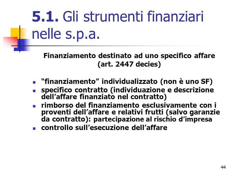 """44 5.1. Gli strumenti finanziari nelle s.p.a. Finanziamento destinato ad uno specifico affare (art. 2447 decies) """"finanziamento"""" individualizzato (non"""