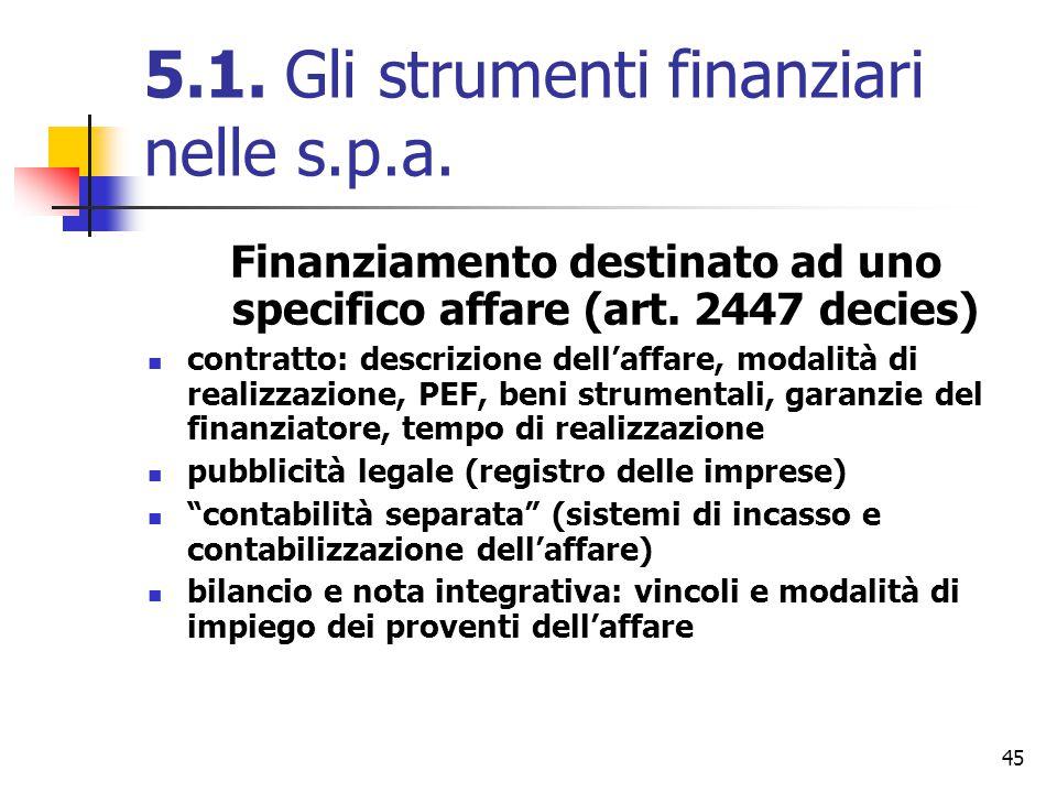 45 5.1. Gli strumenti finanziari nelle s.p.a. Finanziamento destinato ad uno specifico affare (art. 2447 decies) contratto: descrizione dell'affare, m