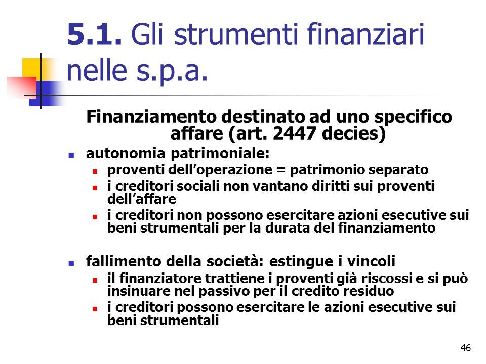 46 5.1. Gli strumenti finanziari nelle s.p.a. Finanziamento destinato ad uno specifico affare (art. 2447 decies) autonomia patrimoniale: proventi dell