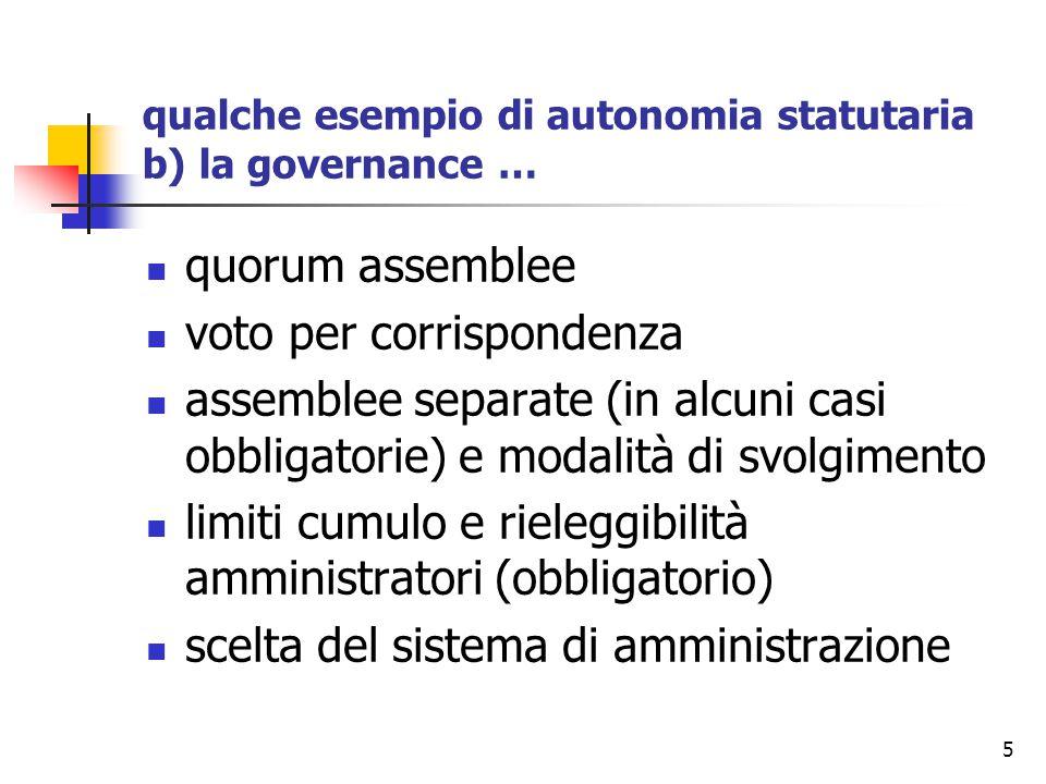 5 qualche esempio di autonomia statutaria b) la governance … quorum assemblee voto per corrispondenza assemblee separate (in alcuni casi obbligatorie)