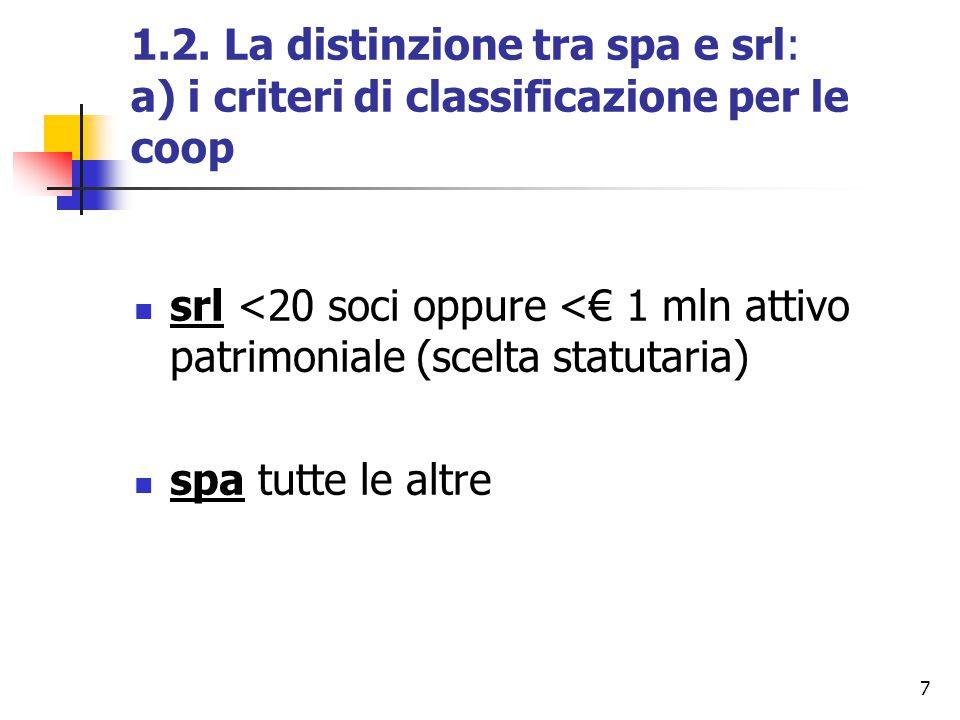 7 1.2. La distinzione tra spa e srl: a) i criteri di classificazione per le coop srl <20 soci oppure <€ 1 mln attivo patrimoniale (scelta statutaria)