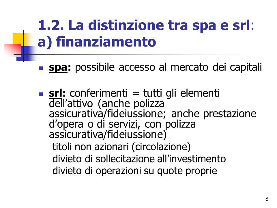 8 1.2. La distinzione tra spa e srl: a) finanziamento spa: possibile accesso al mercato dei capitali srl: conferimenti = tutti gli elementi dell'attiv