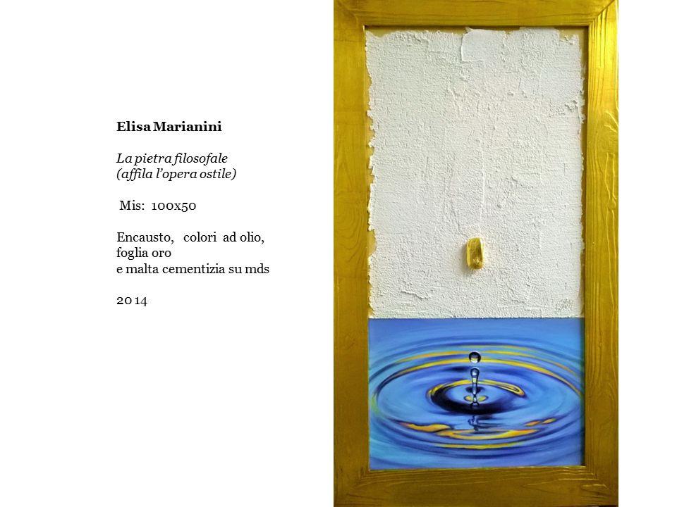 Elisa Marianini La pietra filosofale (affila l'opera ostile) Mis: 100x50 Encausto, colori ad olio, foglia oro e malta cementizia su mds 20 14