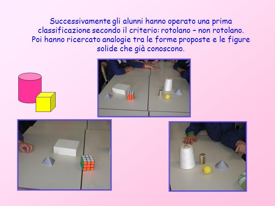 Successivamente gli alunni hanno operato una prima classificazione secondo il criterio: rotolano – non rotolano. Poi hanno ricercato analogie tra le f