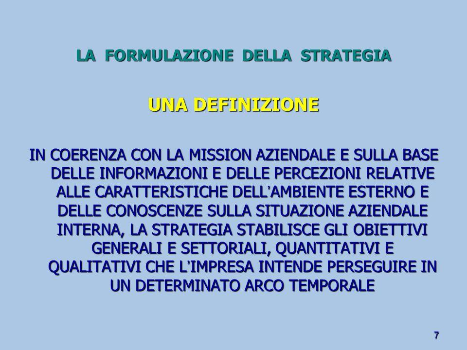 LA FORMULAZIONE DELLA STRATEGIA 8 DEFINIRE IL PERIMETRO DELL ' IMPRESA IL PORTAFOGLIO DI BUSINESS FOCALIZZATO SU UN SOLO PRODOTTO (CORE BUSINESS) DIVERSIFICATO SU GAMMA DI PRODOTTI TRA LORO CORRELATI DIVERSIFICATO IN TERMINI DI MULTIBUSINESS (CONGLOMERALE) DEFINIRE IL PERIMETRO DELLE ATTIVITÀ LE DECISIONI DI MAKE OR BUY IL GRADO DI INTEGRAZIONE VERTICALE L ' INTEGRAZIONE A VALLE DELLA PRODUZIONE