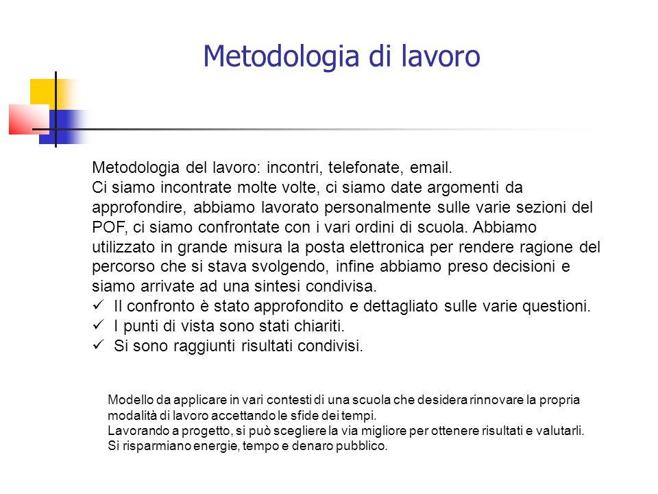Metodologia di lavoro Metodologia del lavoro: incontri, telefonate, email.