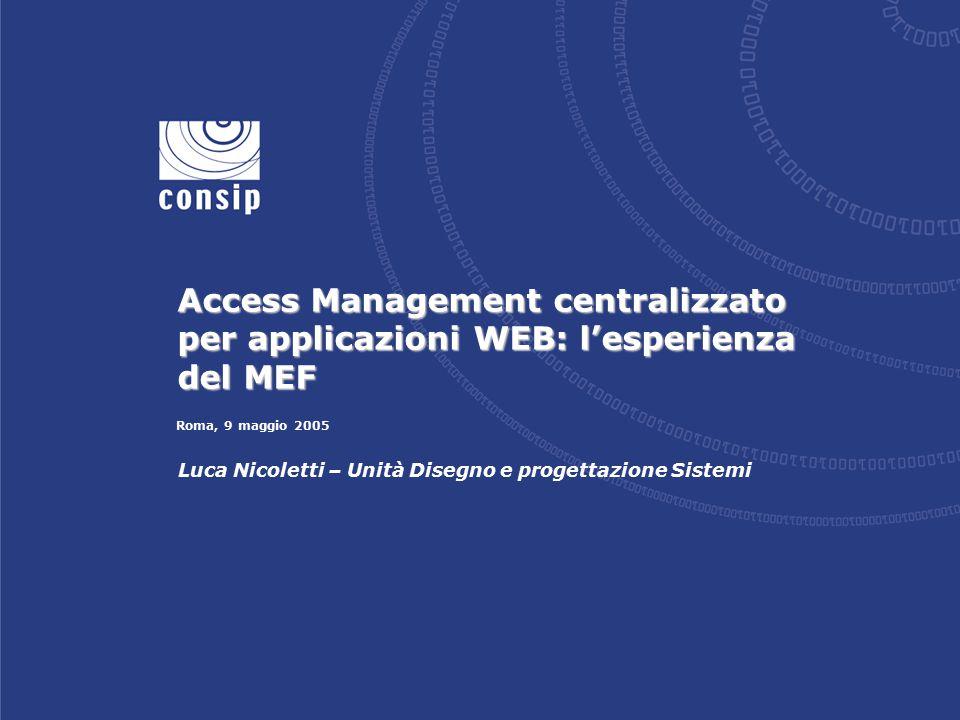 Roma, 9 maggio 2005 Luca Nicoletti – Unità Disegno e progettazione Sistemi Access Management centralizzato per applicazioni WEB: l'esperienza del MEF